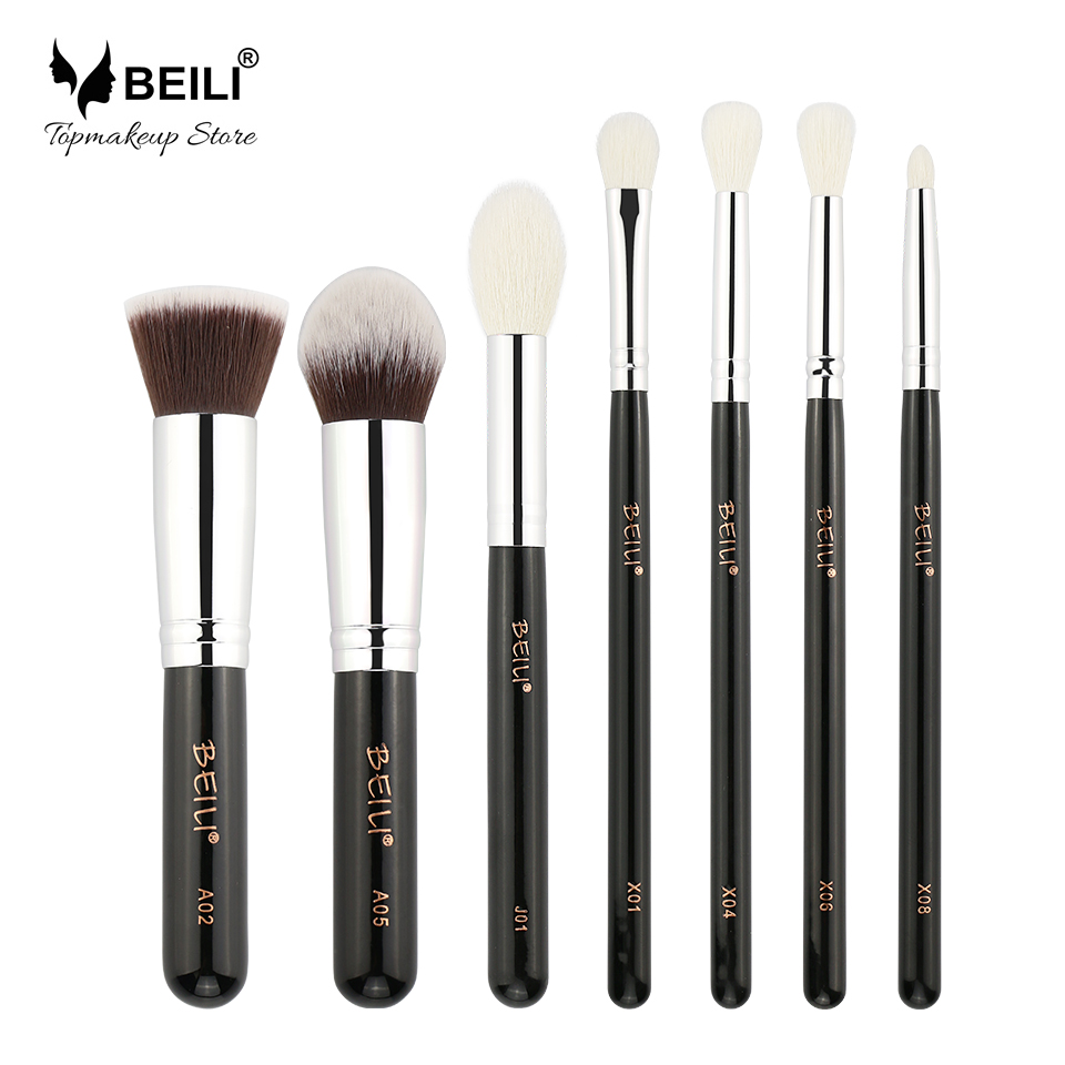 BEILI 7pcs Liquid Foundation Highlight Goat Synthetic Hair Eye shadow Concealer Daily Makeup Brushes Set цена