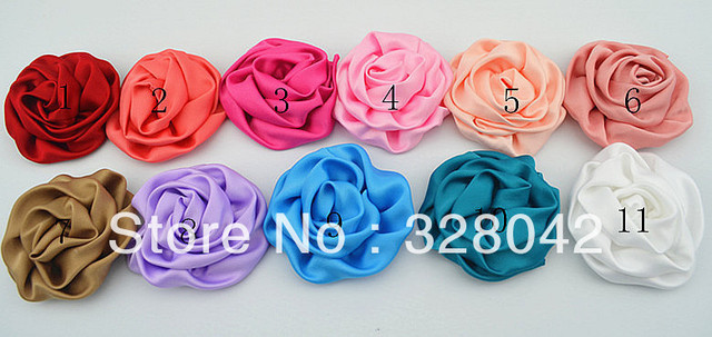 Trail order about 2.8'' Rosettes DIY rose flower satin silk carnation flower fabric flower hair accesories12pcs/lot
