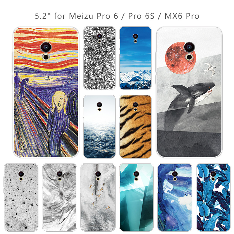 For Meizu Pro 6  MX6 Pro Case Silicone TPU Landscape Case for Meizu MX6 Pro Phone Bag for Meizu Pro 6 Black Back Matte Cover