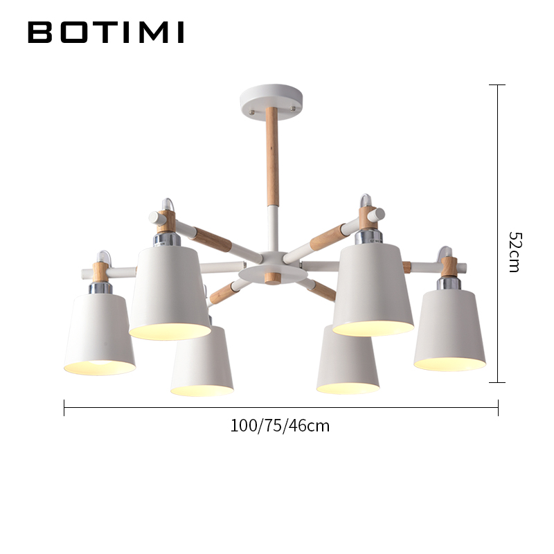 Image 4 - BOTIMI Lustre Solid Wood Chandelier For Living Room Iron Lampshade LED Chandelier Lighting Lustres Para Sala De Jantar Home Lamp-in Chandeliers from Lights & Lighting