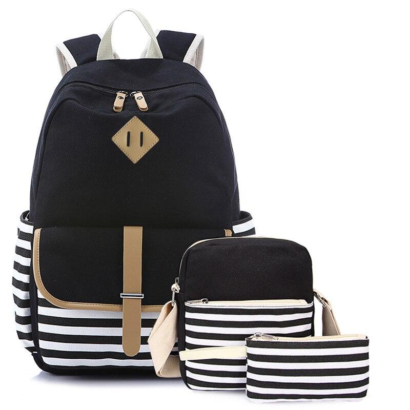 Korean Women Backpack Stripe Canvas Printing 3pcs/set School Bag Preppy Style Teenager Girls Lunch Box Bagpack Mochila