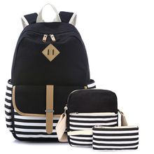 Korean Women Backpack Stripe Canvas Printing Backpack 3pcs/set School Bag Preppy Style Teenager Girls Lunch Box Bagpack Mochila free shipping japanese and korean cartoon letters multi color printing preppy style backpack female