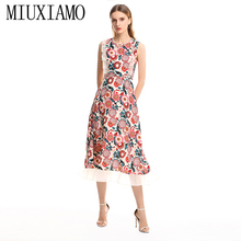MIUXIMAO 2019 Spring&Summer Long Dress New Arrival Beading o-Neck Sleeveless Floral Print Ankle-Length Dress Women vestido
