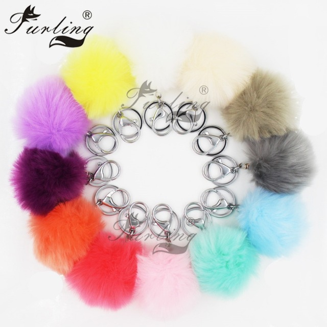 87eb028ce US $12.7 29% OFF|Furling Pack of 12 PCS Silver Plated Metal 8CM Faux Fur  Pom Poms Ball Keychain Mix Key Ring Pompom Pendant Bag Charm Accessory-in  Key ...