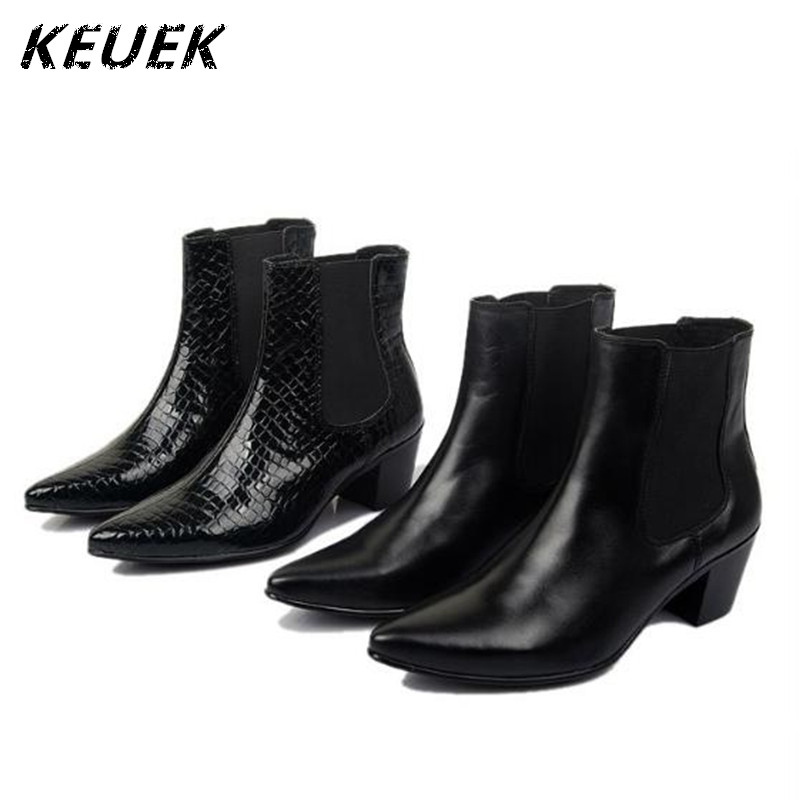 Pointed toe Genuine leather Ankle boots British style Male elevator shoes Autumn Fashion Men Outdoor boots 02