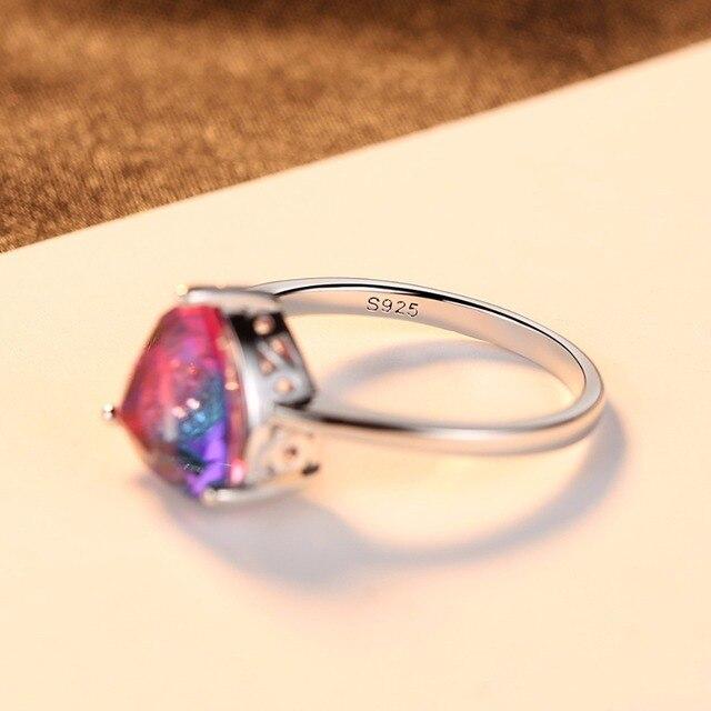 PAG & MAG Gioielli Vintage Ametista 925 Sterling Silver Ring Arcobaleno Natura Triangolo Topaz Donne di Nozze Anel Aneis Anello Della Pietra Preziosa