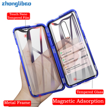 Luxury Magnetic Adsorption Metal Case for Oneplus 7 7 Pro 360 Full Cover Front Back Double Glass Screen Protector One Plus 7pro