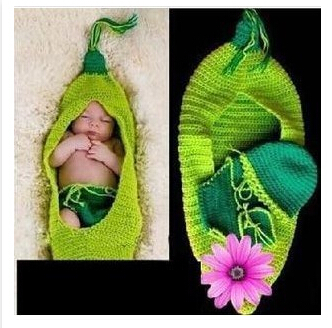 BH43 Crochet baby cocoon, Baby diaper cover set, Newborn pea pod cocoon, Newborn baby Pea Pod photography props one set