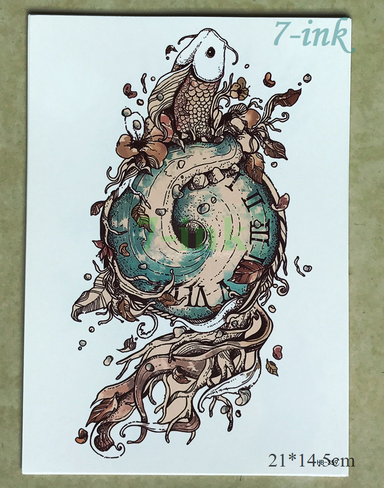 Temporary Tattoo Sticker Large Size Body Art Sketch Flower: Fish With Whirlpool Temporary Tattoo Sticker For Women Men