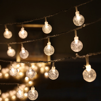 Free Shipping Glass Crytal Round Ball Led String Light Battery Operated 4M For Party Supplies Hotel