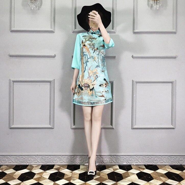 Китайское современное платье Ципао с вышивкой и воротником-стойкой - Цвет: B