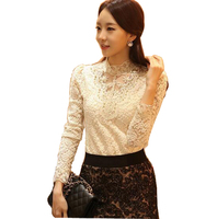 New Fashion Blouse Flower Lace Blouses For Women Ladies Long Sleeve Blouses Hollow Out Tops Spring