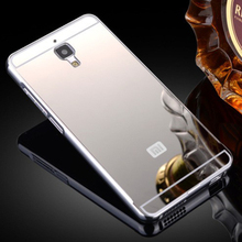 Mi4 Fashion Gold Plating Armor Aluminum Frame + Mirror Acrylic Back Cover Phone Case For Xiaomi Mi4 Set Hot Phone Bag