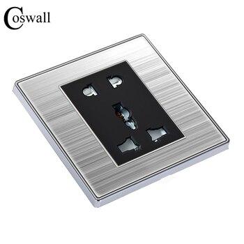 COSWALL Универсальная Розетка с 5 отверстиями, роскошная настенная розетка, электрическая розетка из нержавеющей стали с защитной дверью для д...