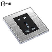 COSWALL Universal 5 Hole Outlet Luxury Wall Power Socket Stainless Steel Panel Electrical Plug With Child Protective Door