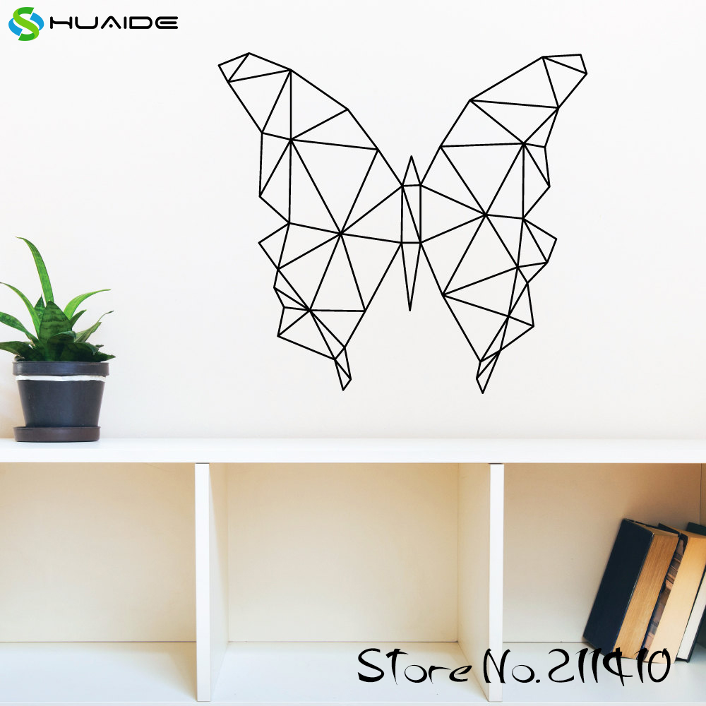 Large Size Geometric Butterfly Wall Decal Sticker Vinyl Removable Wall Stickers For Kids Room Girl Bedroom Nursery Wall Art A345