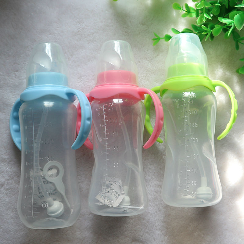 Newborn baby milk bottle standard caliber pp food grade pp handle bottle 250ml Gift straw brush ...