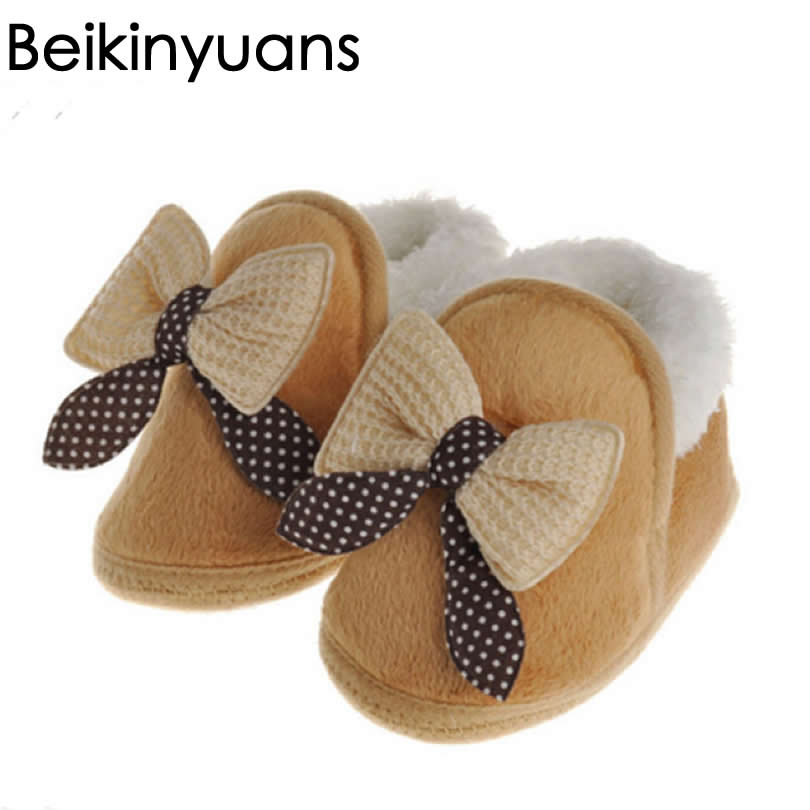 Butterfly-knot Lovely Winter Warm Baby Shoes Soft Bottom Non-slip Bow Toddler shoes First walkers Newborn Baby Boys Footwear