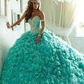 Ruffle Vestidos Quinceanera Turquesa 2016 Com Cristal vestido de Baile Vestidos de Baile Querida vestidos de 15 anos Frete Grátis