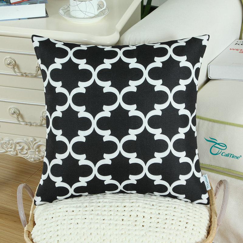 2PCS Square CaliTime Cushion Cover Pillows Shell Quatrefoil Accent Geometric Home Sofa Decor 20 X 20(50cm X 50cm) Black