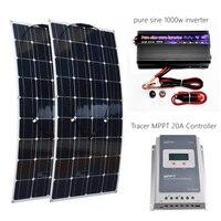 200 Вт * 2 гибкие солнечные панели Вт 1000 Вт комплект солнечной системы Вт с 100 Вт Инвертор и MTTT 20A для автодомов лодки крыши батарея зарядное уст