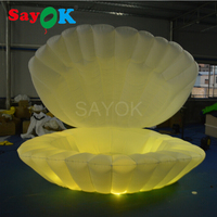 Giant inflatable shell with RGB led lights, inflatable clam shell for stage wedding decoration