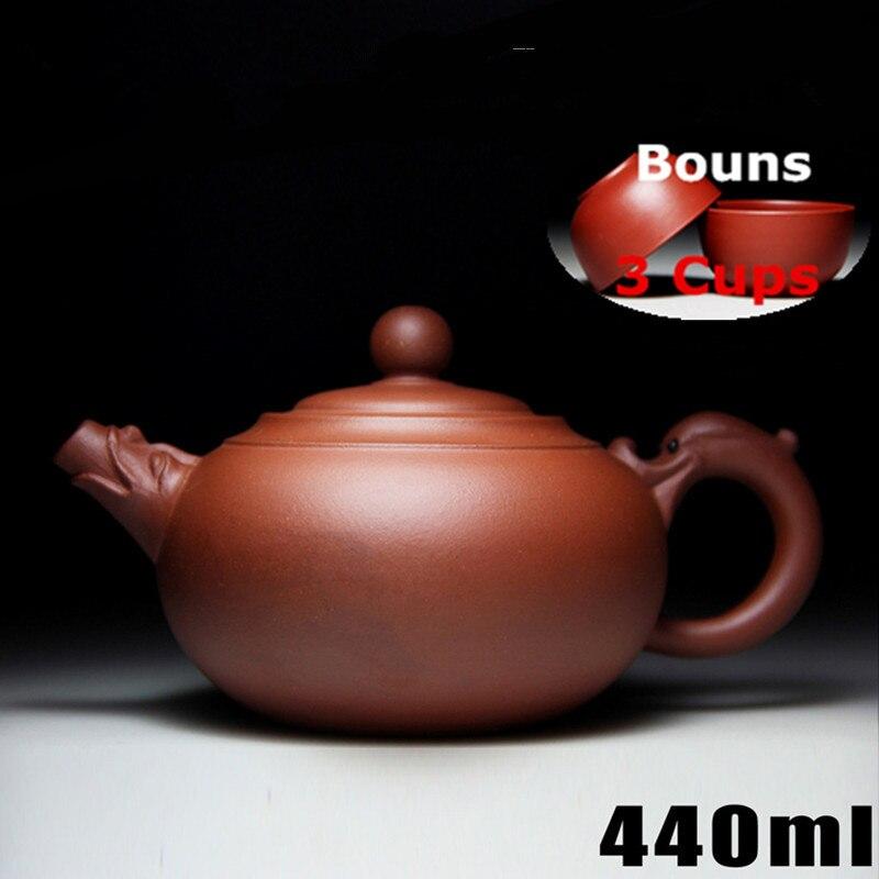 440 ml Dragon bénédiction théière Yixing théière ensemble de thé chinois [Bonus 3 tasses] cérémonie de thé chinois célèbre emballage cadeau fait main