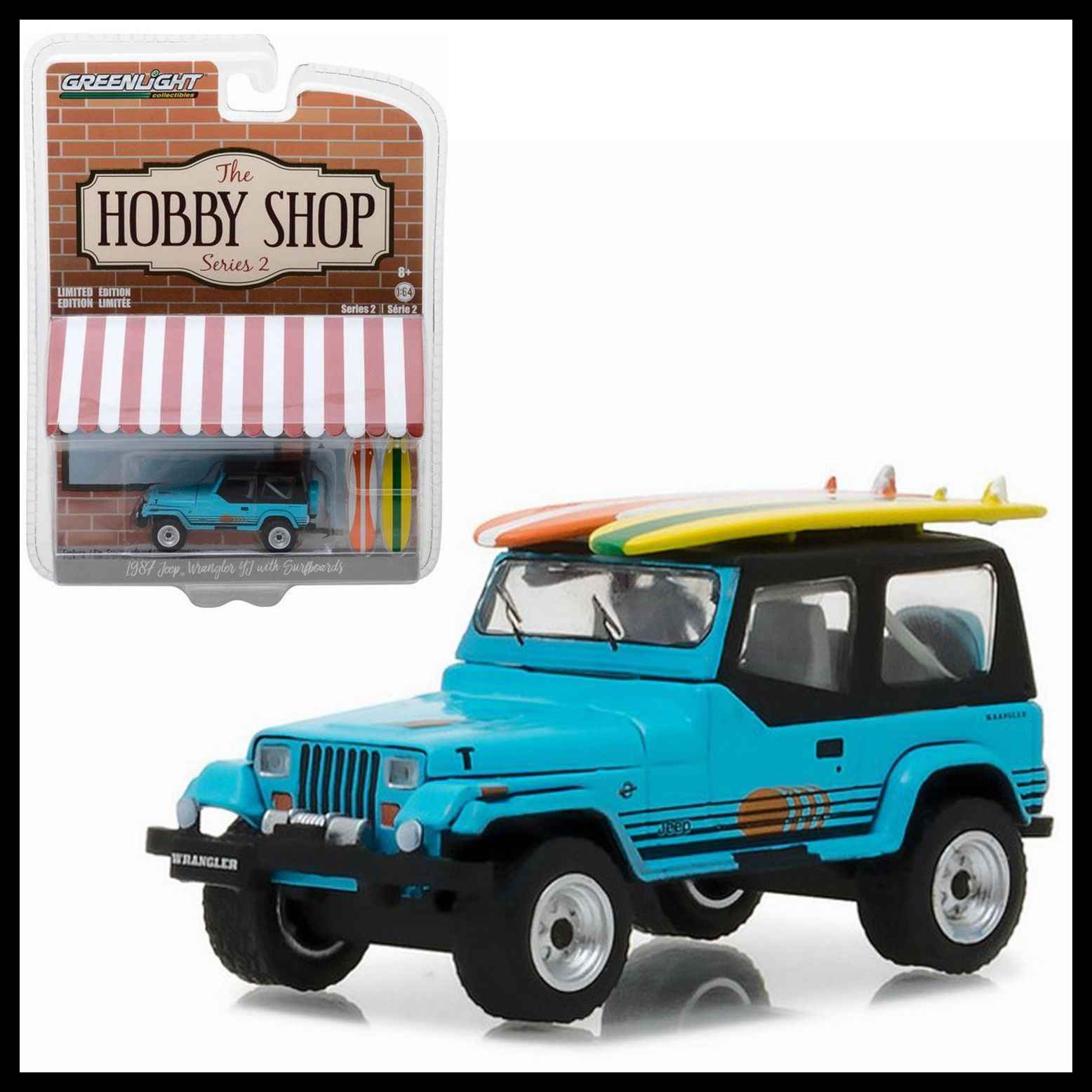 GL 1:64 1987 Jeep Wrangler YJ with Surfboard alloy model Car Diecast Metal Toys Birthday Gift For Kids Boy