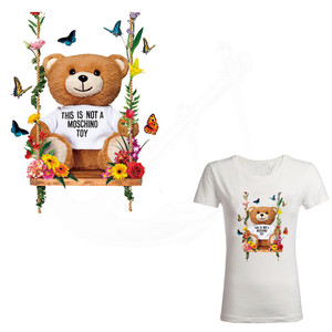 Hot Europe Swing bear doll Iron-On patches for clothes DIY child T-shirt clothing patches Thermal transfer sticker(China)