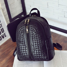 Kpop Mochilas 2016 New Leather Bags Leisure Bag Backpack All-match Rivets Stitching Wholesale And Retail Free Shipping C053