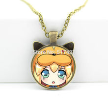 2017 New hot New Cartoon Girl Pendant Anime Jewelry Glass Cabochon Necklace Pendant N-00679
