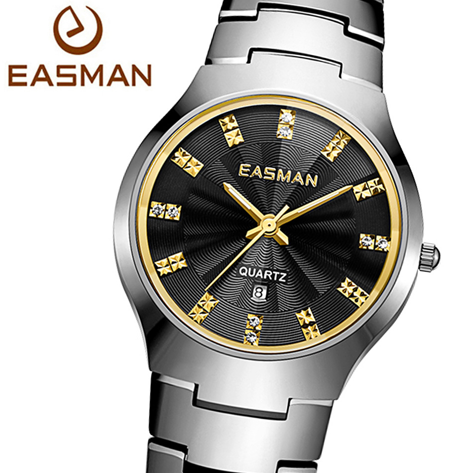 EASMAN Watch Brand Mens Tungsten Steel Watch Luxury Sapphire Glass Quartz Designer Wristwatches Watches For Men