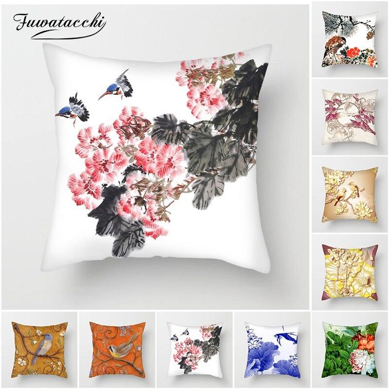 Fuwatacchi Tinta pintura Flores e Pássaros de Capas de Almofada Capas de Almofadas para o Sofá de Casa Decorações de Cadeira Estilo Chinês Fronhas