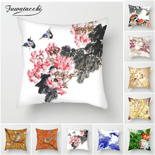 Fuwatacchi Ink painting Cushion Covers Flowers and Birds Pillow for Home Sofa Chair Decors Chinese Style Pillowcases