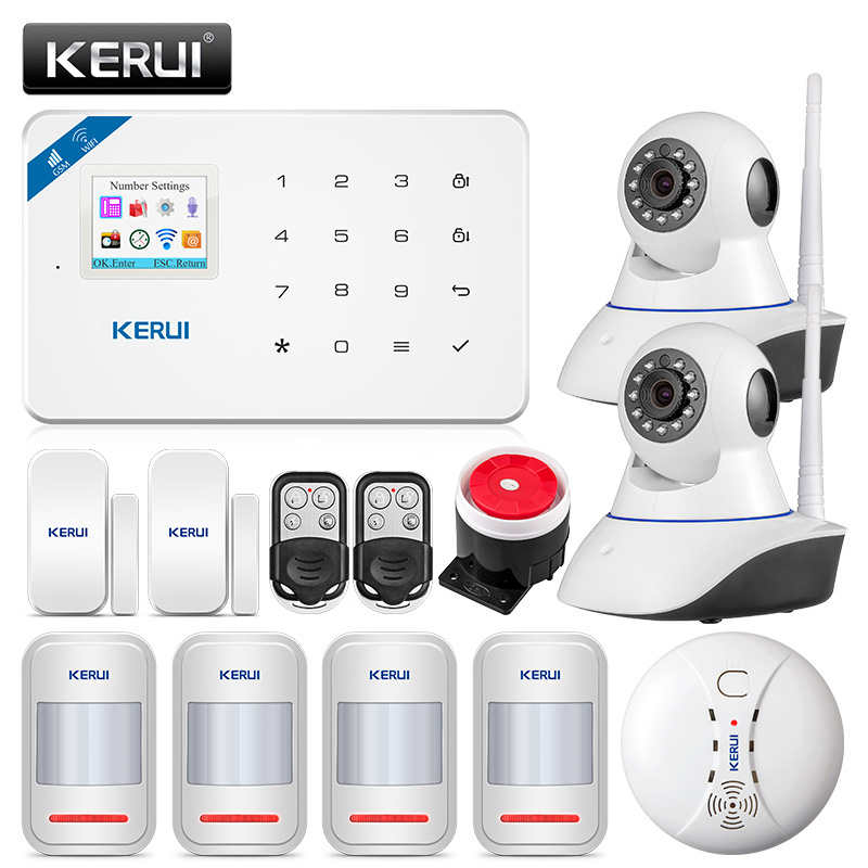 KERUI W18 433MHz 4 Language Security Alarm System Wireless 1.7-inch IOS/Android APP Control Wifi GSM Home Burglar Alarm Suits kerui w18 wireless wifi gsm ios android app control lcd gsm sms burglar alarm system for home security russian english voice