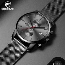 CHEETAH męskie zegarki Top luksusowa marka mężczyźni moda ze stali nierdzewnej czarny zegarek Casual Sport zegarek kwarcowy wodoodporny zegar