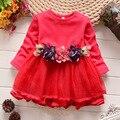 Vestidos de bebê flor 2016 outono novidade infantil roupas das meninas para o partido malha patchwork crianças vestido para meninas vestidos de casamento