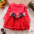 flower baby dresses 2016 autumn newness infant girls clothes for party mesh patchwork kids dress for girls wedding vestidos