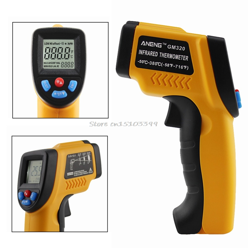 -50~380 Celsius Digital Handheld Non-Contact LCD Temp IR Laser Gun Infrared Thermometer G08 Drop ship