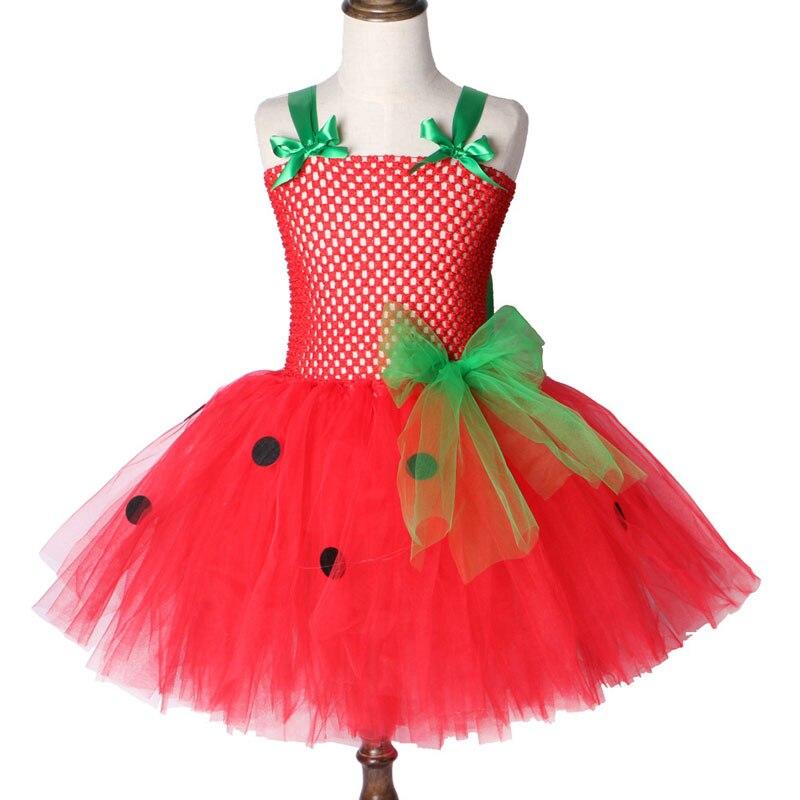 Платье-пачка с клубничкой для девочек, красное праздничное платье для девочек, Детский костюм на Рождество, Хэллоуин, для детей 2-12 лет