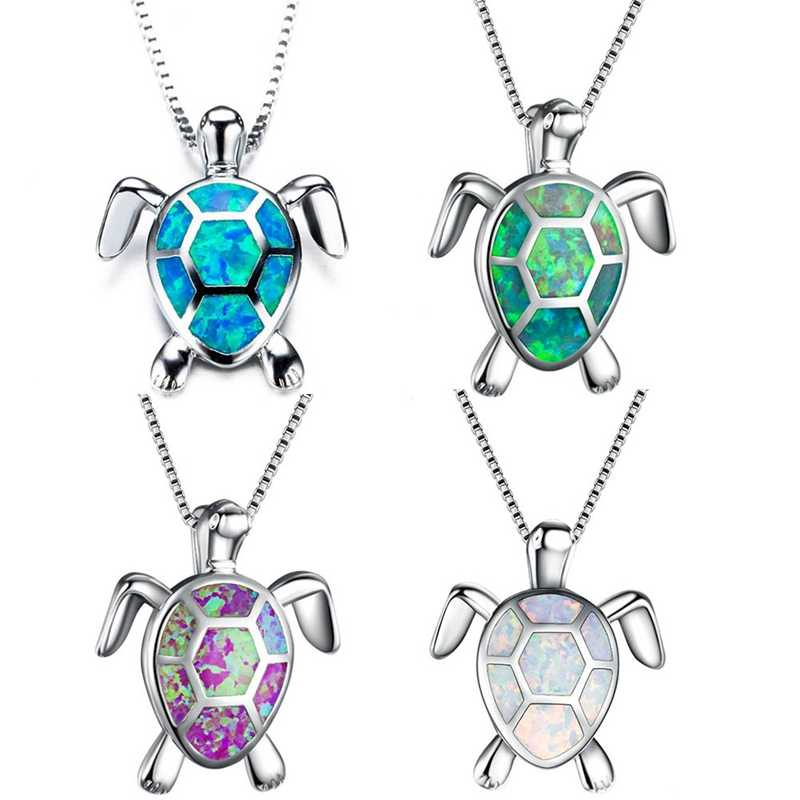 Fashion Silver Filled Blue Opal Sea Turtle Pendant Necklace Women Female Animal Wedding Ocean Beach Jewelry Gift
