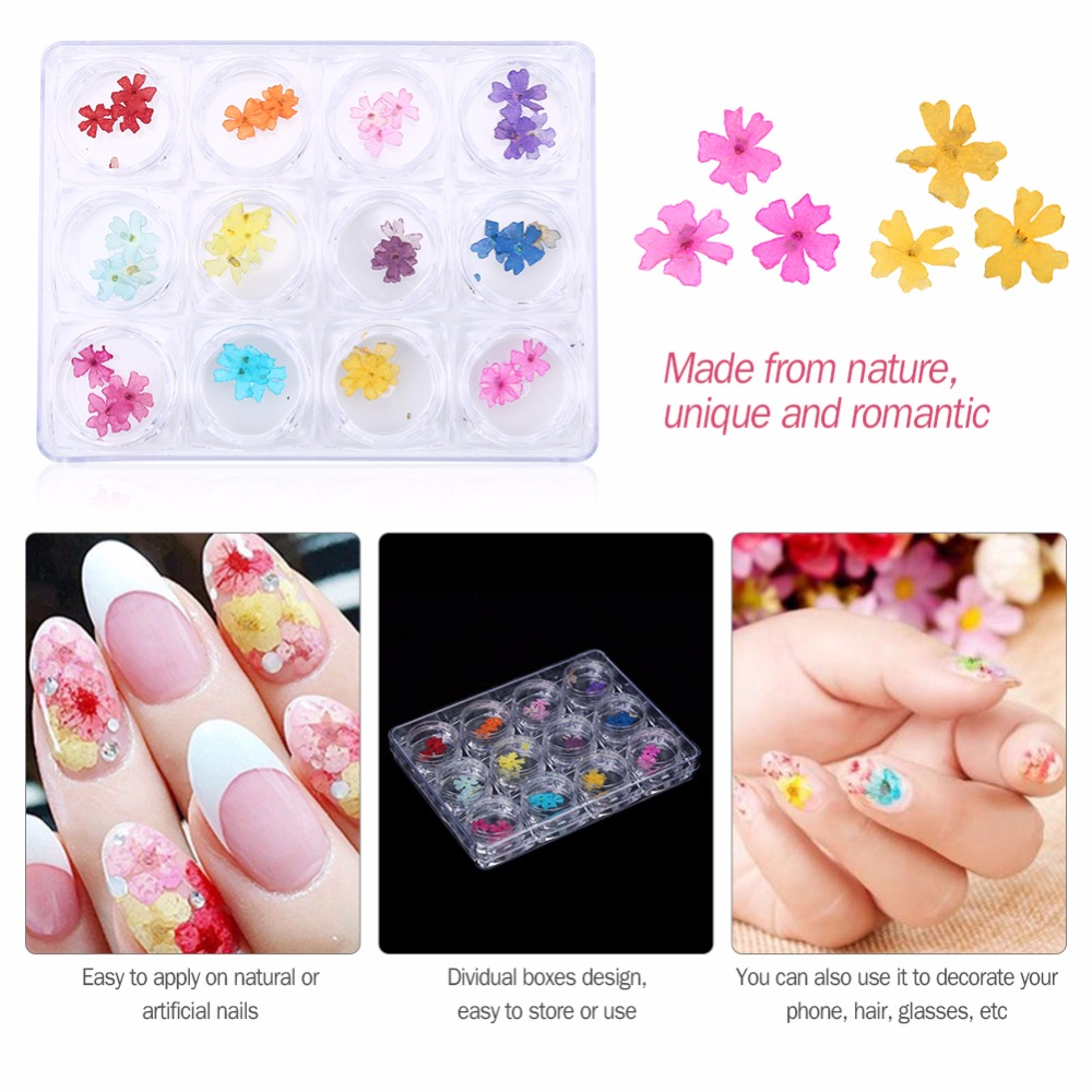 12 Colors 3D Nail Art Decoration Real Dry Dried Flowers For UV Gel Polish Acrylic Nail Art Tips Nails Manicure Accessoires 120 180 colors professional manicure salon nail art uv gel polish tips card display board book chart palette 3 colors