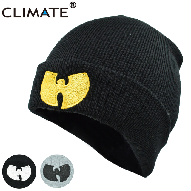 89d37dc49 US $3.85 23% OFF|CLIMATE Men Women Wutang Winter Warm Beanie Hat Musice  Skullies Knitted Soft Wu Tang WU TANG CLAN HipHop Music Team Hats Caps -in  ...