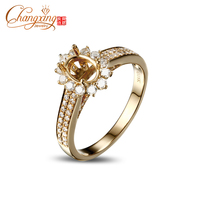 5x7mm Oval Cut Real 14k Gold 0.68ct Round Cut Diamond Engagement Semi Mount Ring
