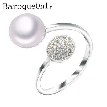 49b4e2082136 BaroqueOnly 2019 joyería de moda 8-9mm anillo de perla agua dulce para las  mujeres boda anillo de 925 RAJ