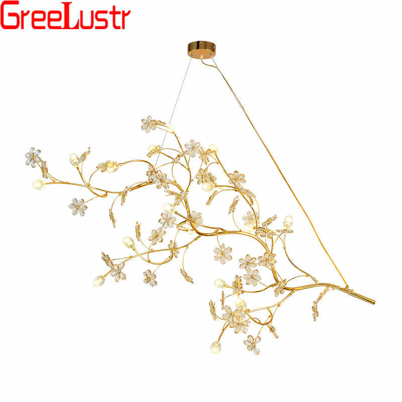Luxury Project Design LED Chandelier Pendant Lamp Gold Crystal Chandeliers G9 Tree Branch Hanging Lamp Lustres For Hotel Shop