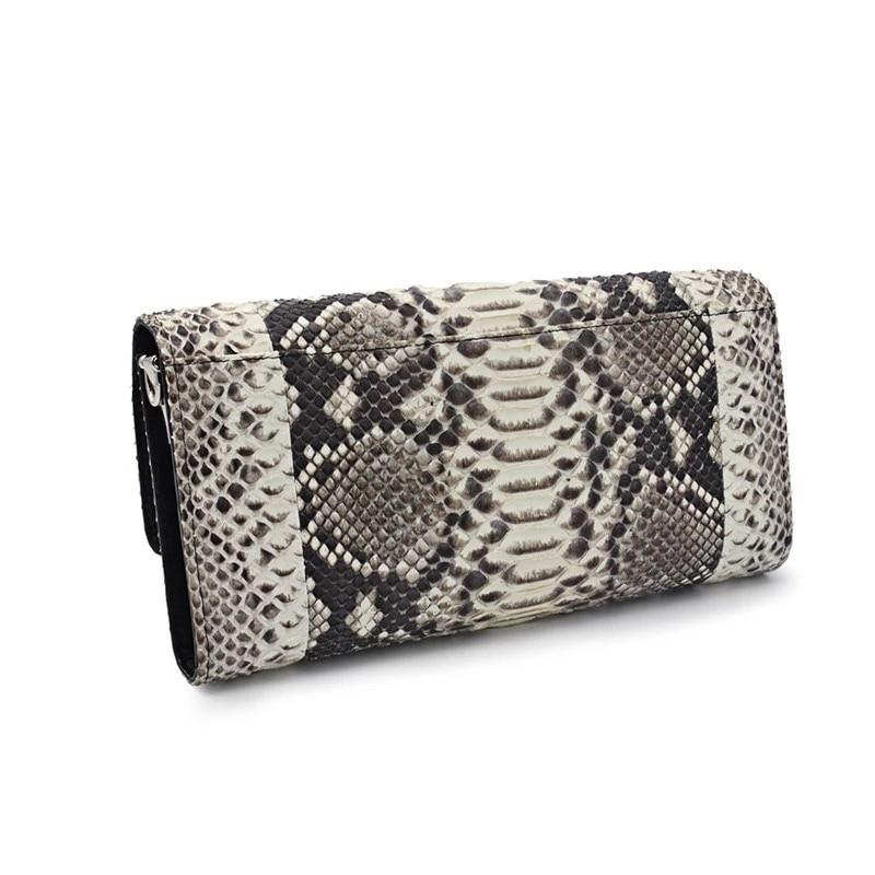 Authentic Python Leather Women's Serpentine Envelop Evening Purse Genuine Snakeskin Female Cross Shoulder Bag Lady Phone Clutch