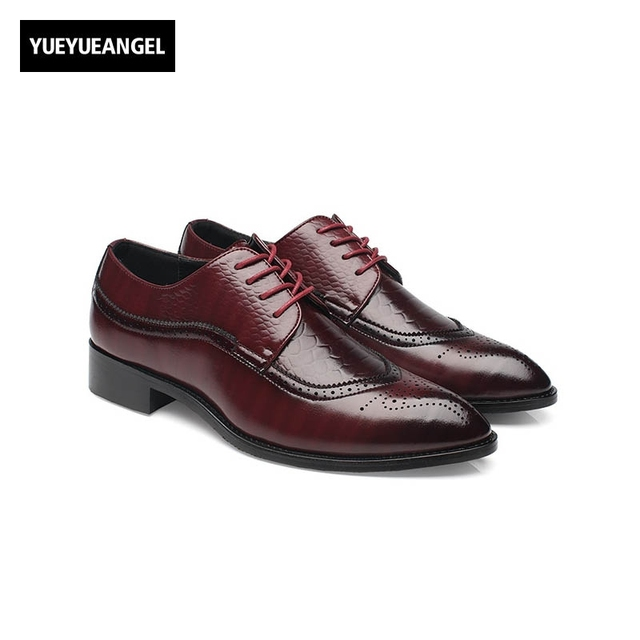 08e822620c5 New Fashion Mens Faux Leather Dress Shoes Male Brogue Shoes Lace Up Pointed  Toe Plus Size Black Red Yellow Sapato Masculino