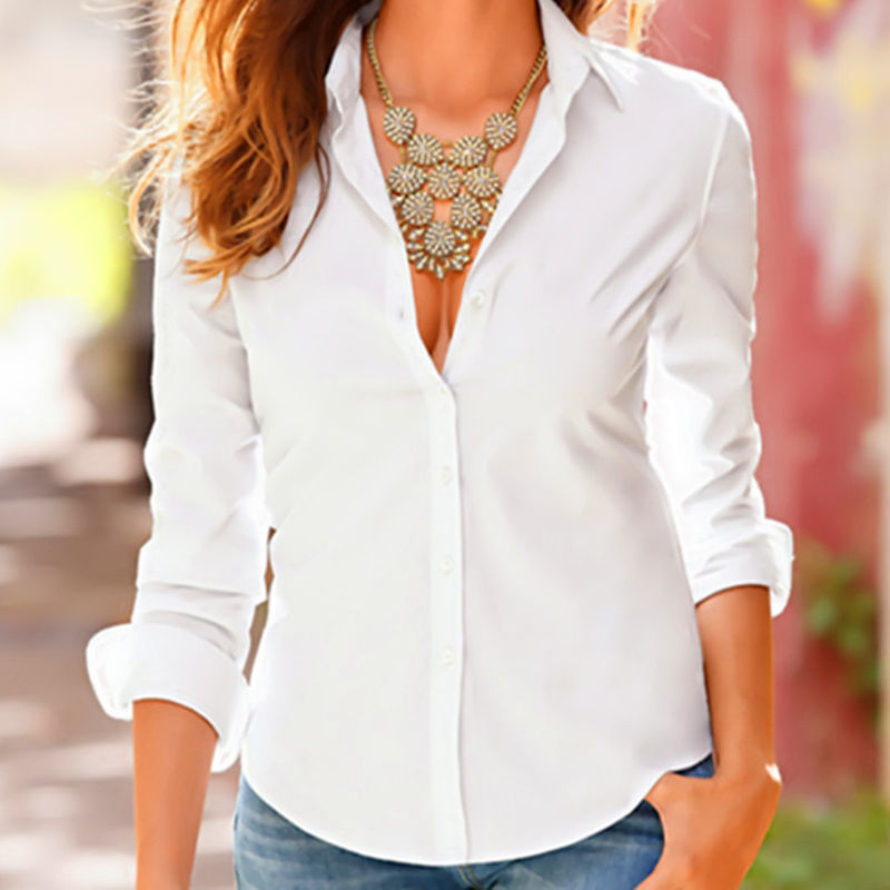 Ladies Work Blouse White Black Turn Down Collar Women Slim Long Sleeve Blouse Formal Womens Business Office Shirts