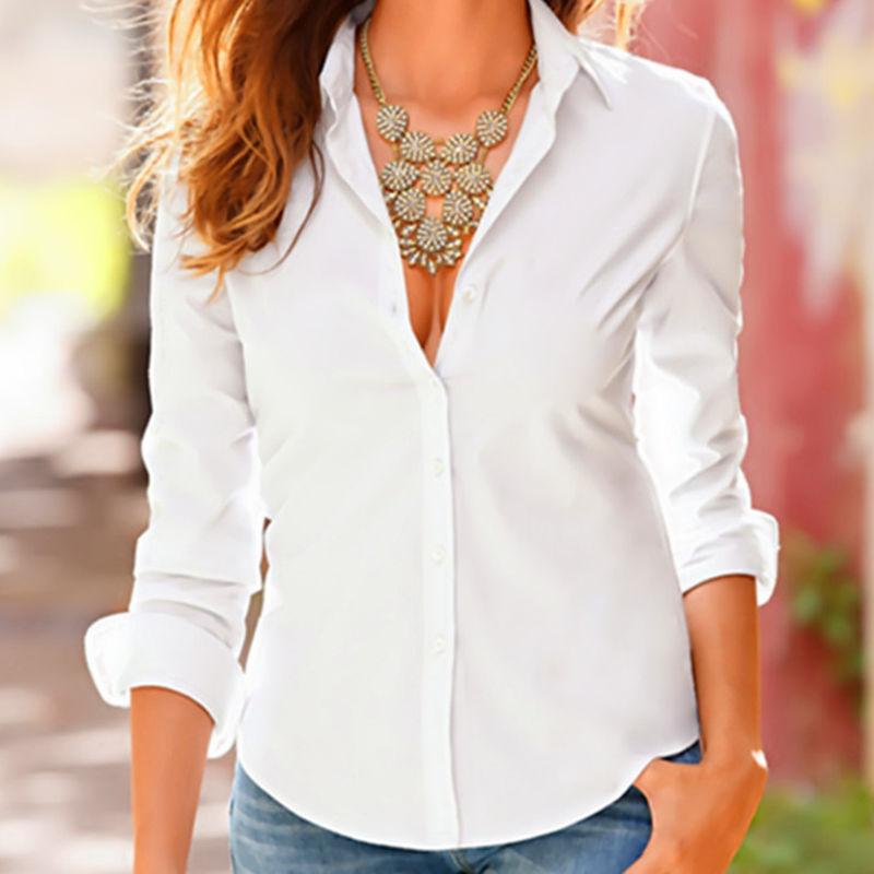 Ladies Work Blouse White Black Turn Down Collar Women Slim Long Sleeve Blouse Formal Womens Business Office Shirts